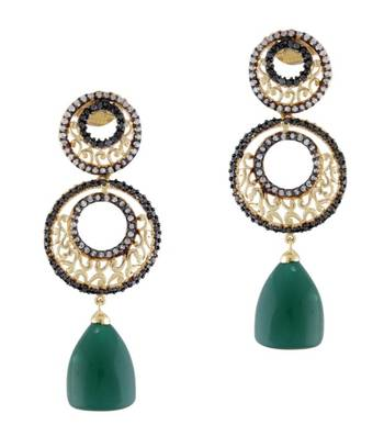 Golden & Green Indian Earrings