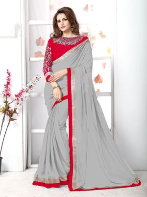 Grey plain chiffon saree with blouse