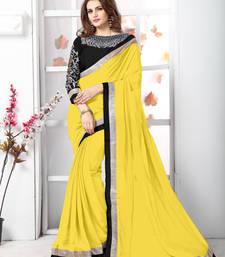 Buy Yellow plain chiffon saree with blouse chiffon-saree online