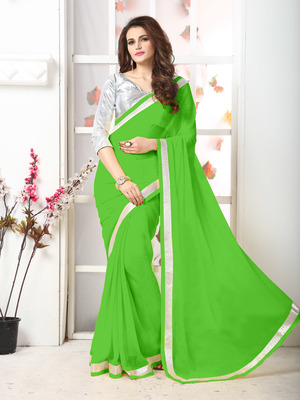 Green  Embroidery chiffon saree with blouse