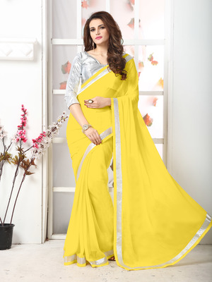 Yellow  Embroidery chiffon saree with blouse