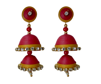 Handmade Red Paper quilling Jhumka