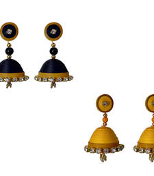 Handmade  Black and Yellow Paper Jhumka Earring