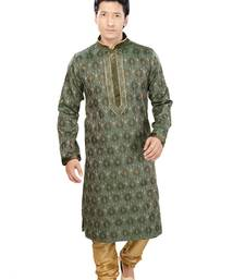 Buy green jacquard plain traditional kurta kurta-pajama online