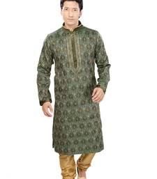 Buy green jacquard plain traditional kurta men-festive-wear online