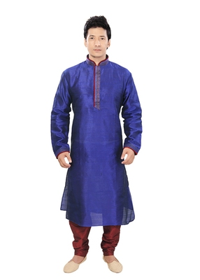 Blue Silk Plain Traditional Kurta