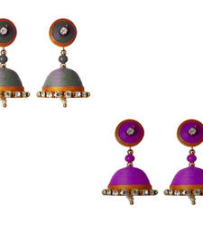 Handmade Silver and Purple Paper Jhumka Earring shop online