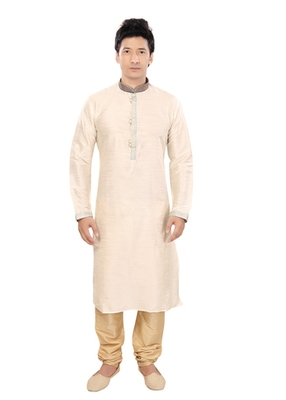 Beige Jacquard Plain Traditional Kurta