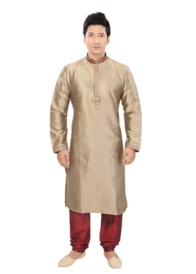 Grey Jacquard Plain Traditional Kurta