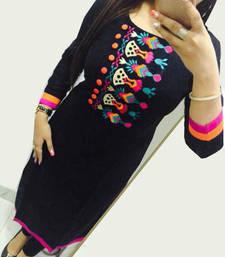 Buy Black embroidered georgette semi stitched kurti pakistani-kurtis online