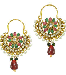 Ethnic Indian Bollywood Fashion Jewelry Set Pearl Hoop Earrings
