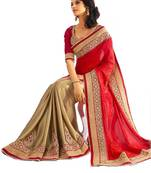 Buy Cream embroidered georgette saree With Blouse