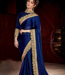 Buy Blue embroidered geogette saree With Blouse georgette-saree online