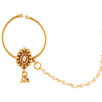 Bridal Jewelry Set Pierced Nose Ring Nathni with Chain