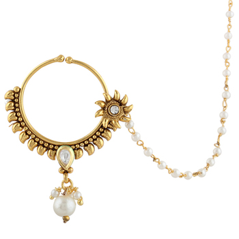 Sunflower Kundan Bridal Jewelry Set Pierced Nose Ring Nathni With Chain