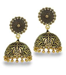Antique Oxidized Gold Plating Budha Shape Jhumki Women Earrings