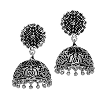 Antique Oxidized Silver Plating Budha Shape Jhumki Women Earrings