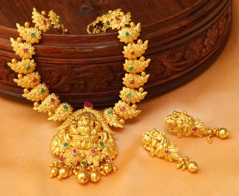 Designer High Gold One Gram Multi Colour Temple Necklace Set With Type Earrings
