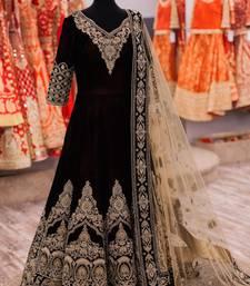 Buy Black Embroidery Banglori semi_stitched salwar with dupatta wedding-salwar-kameez online