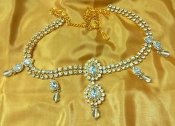 Amazing austrian diamonds white waist belt kamarband belly chain