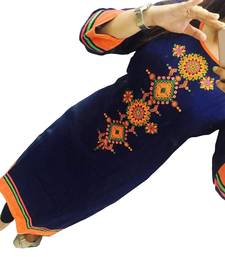 Buy Blue embroidered georgette semi stitched kurti cotton-kurti online