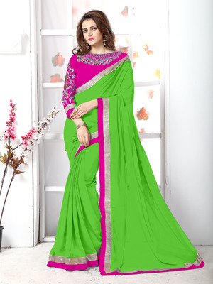 Green plain chiffon saree with blouse