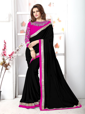 Black plain chiffon saree with blouse