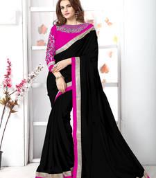 Buy Black plain chiffon saree with blouse chiffon-saree online