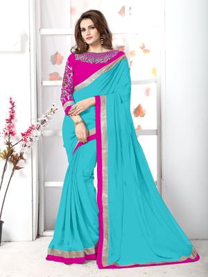 Tan plain chiffon saree with blouse