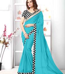 Buy Light Blue embroidered chiffon saree with blouse chiffon-saree online