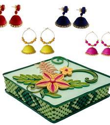 Buy Handmade Paper earrings combo with Designer jewellery box Set designer-jewellery online