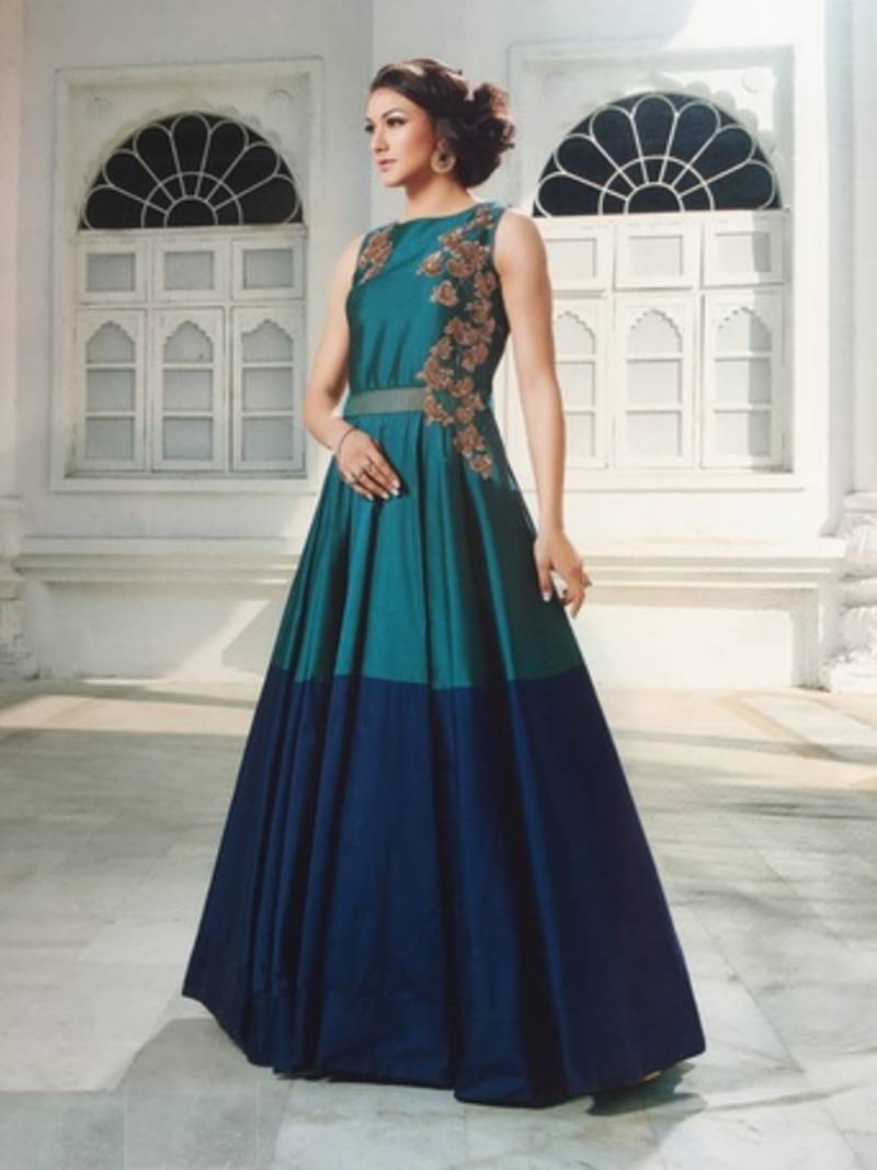Buy Blue and green embroidered semi stitiched indo western gowns Online