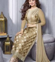 Buy Chiku georgette embroidered semi stitiched salwar with dupatta bollywood-salwar-kameez-online online