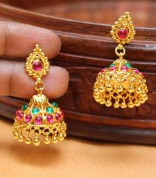 Beautiful south stone Traditional  kemp jhumkas