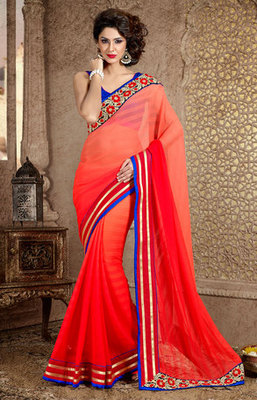 A Red and Blue Marble Chiffon Saree