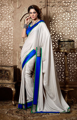 Grey and Blue Crepe Jacquard Saree Stone Work on it