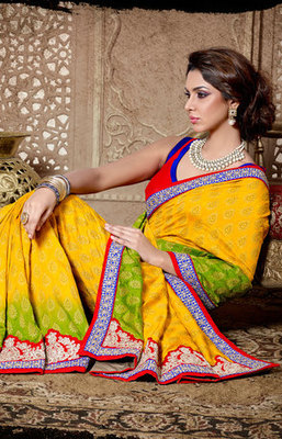 Yellow and Red Bhagalpuri Jacquard Saree
