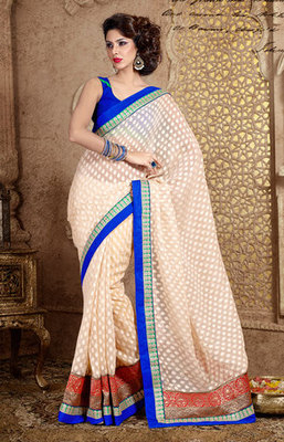 Cream and Blue Bhagalpuri Cotton Saree