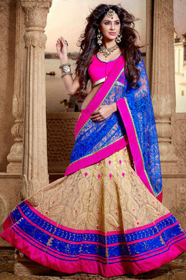 Beautiful Blue and Beige colour Net Lehenga Saree