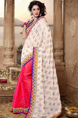 Red and Beige Cotton Viscose Saree