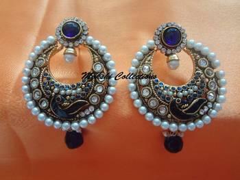 Beautiful Blue Peacock Earrings