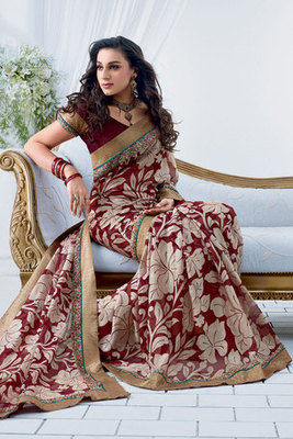 Beautiful Patch-patti Worked Chiffon Brasso Saree