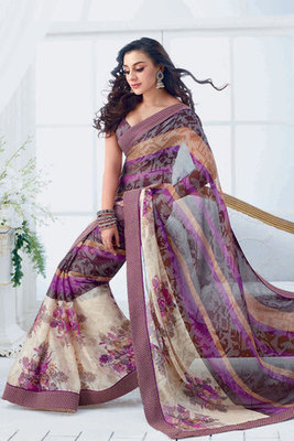 Purple Chiffon Printed Saree Decorated with Patch-patti work