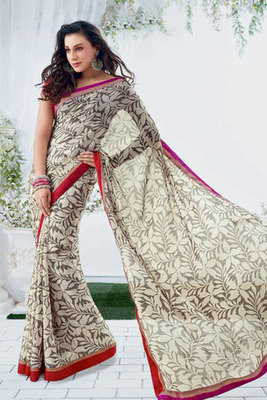 Off-white Chiffon Printed Saree