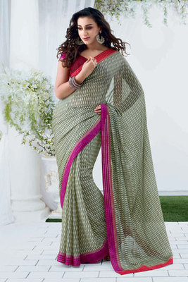 Green Chiffon Saree With Patch-patti Work
