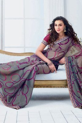 Grey Chiffon Brasso Saree Showing Patch-patti work