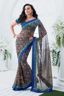 Black Chiffon Saree With Blue Dhupion Blouse
