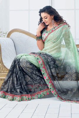 Green and Black Chiffon Brasso Saree with Dhupion Blouse