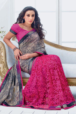 Grey and Pink Net and Chiffon Brasso Saree