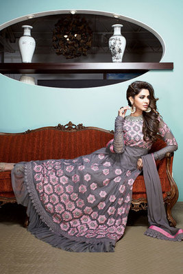 Grey Net Designer Fancy Anarkali Suit